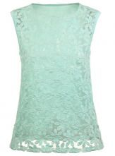 Green Sleeveless Embroidery Organza T-Shirt