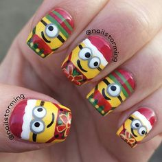 minions christmas by nailstorming #nail #nails #nailart. My little brother elijah would die if I did this!