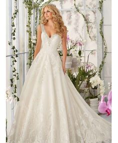 Prinsessen trouwjurk met v rug bewerkte bruidsjurk op maat