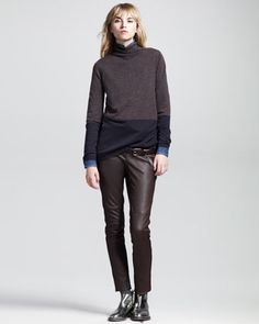 Balancing Act: Brunello Cucinelli FW 2013-14 | Colorblock Turtleneck, Denim Neck-Tie Blouse, Piped Leather Trousers & Leather Chain Belt