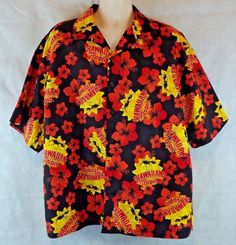 Hawaiian Tropic suntan lotion Aloha Button Camp Shirt Size XXL Black/Yellow/Red…