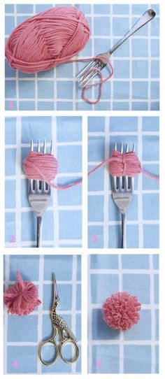 Clever And Inexpensive Crafting Hacks Forks are great for making tiny pom-poms. Now I need to find uses for some pompoms!Forks are great for making tiny pom-poms. Now I need to find uses for some pompoms! Kids Crafts, Diy And Crafts, Arts And Crafts, Diy Cat Toys Yarn, Crafts With Wool, Diy Crafts With Yarn, Diy Yarn Decor, Creative Crafts, Easter Crafts