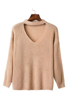 V-neck Knitted Sweater In Tan