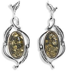 ApplesofGold.com - Green Amber Leaf Design Earrings in Sterling Silver