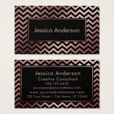 Black and Faux Rose Gold Foil Chevron Pattern Business Card - metal style gift ideas unique diy personalize
