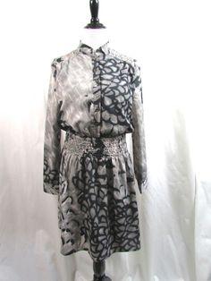 Jessica Simpson Gray Black Animal Print Shirt Dress Size 8 Career Long Sleeves #JessicaSimpson #ShirtDress #WeartoWork