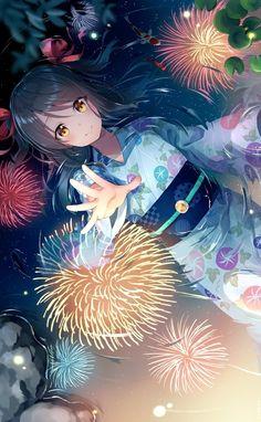 Like a fireflower🎵 Girls Anime, Kawaii Anime Girl, Anime Art Girl, Manga Girl, Pretty Anime Girl, Beautiful Anime Girl, I Love Anime, Anime Girl Kimono, Anime Galaxy