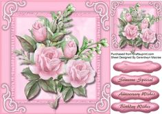 A lovely card with Pink roses and Jasmine has  three greeting tags and a blank one