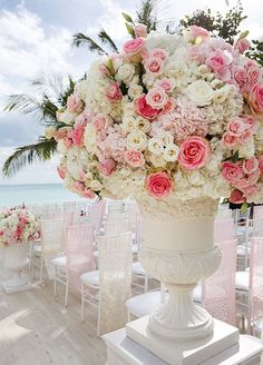 Stunning floral arrangement at the end of the aisle.