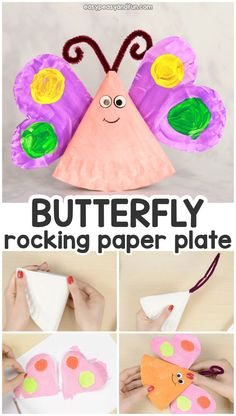 Rocking Paper Plate Butterfly Craft for Kids Butterfly Kids, Butterfly Crafts, Flower Crafts, Creative Kids, Creative Crafts, Easy Crafts, Arts And Crafts, Paper Plate Crafts For Kids, Spring Crafts For Kids