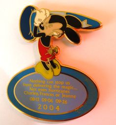 WDW Mickey Mouse 2004 Hurricanes Charley Frances Jeanne Disney Thank You Pin RARE!