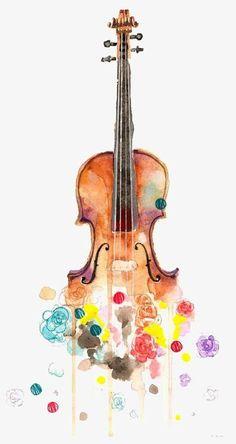 Watercolor Violin SilhouetteColorful Rainbow Instrument