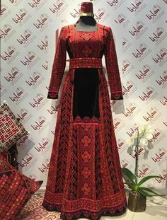 @layalyabdelkarim Simple Dresses, Elegant Dresses, Beautiful Dresses, Embroidery Fashion, Embroidery Dress, Ethnic Trends, American Dress, Indian Gowns Dresses, Palestinian Embroidery