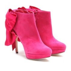 Alexander McQueen hot pink platform booties with oversized bow at the back. $1195