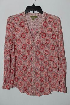 06f5db490f1 Women's SIGRID OLSEN SIGNATURE Floral Woven Button Down Top Shirt Size L  #SigridOlsen #ButtonDownShirt