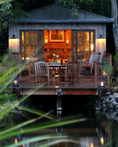 Love the way the deck sits on the water and is a room of the house at the same time