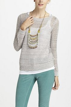 $88 Glimmered Pointelle Pullover #anthropologie