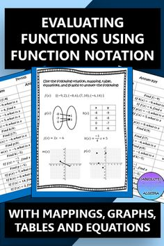 Are your Algebra students struggling with evaluating functions? Do they get confused on whether they are finding the input or the output?  This function notation activity has 35 practice questions and will give your high school students lots of practice using f(x) form. They will find the missing values from a relation, mapping, table, graphs (discrete and continuous), and equations. #function #function notation #evaluate #mapping #graph #table #relation #equation #input #output #Algebra #f(x) Math Resources, Math Activities, Linear Function, Secondary Math, 8th Grade Math, Algebra 1, Math Stations, High School Students, Math Lessons