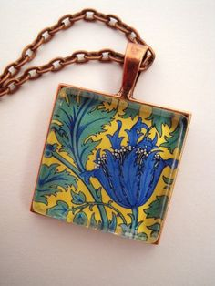 William Morris Era Floral Glass Pendant Wearable by sterlingquest, $14.99