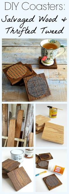 Create warm and cozy coasters that are perfect for autumn by combining salvaged wood and thrift store tweed! They look phenomenal together in a handsome, British library sort of way...and would make excellent gifts. Check the clearance racks at the thrift store during the summer to get the best price on an old, outdated tweed coat...and then these easy DIY coasters can be yours! Fun repurpose upcycle craft project from #SadieSeasongoods / www.sadieseasongoods.com