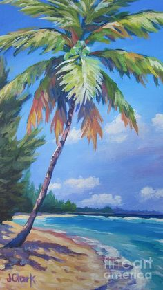 Beach Palm Trees Art - Palm Tree and View East by John Clark Tree Watercolor Painting, Oil Painting Abstract, Watercolor Landscape, Painting Trees, Palm Tree Drawing, Palm Tree Art, Palm Trees Beach, Seascape Paintings, Landscape Paintings