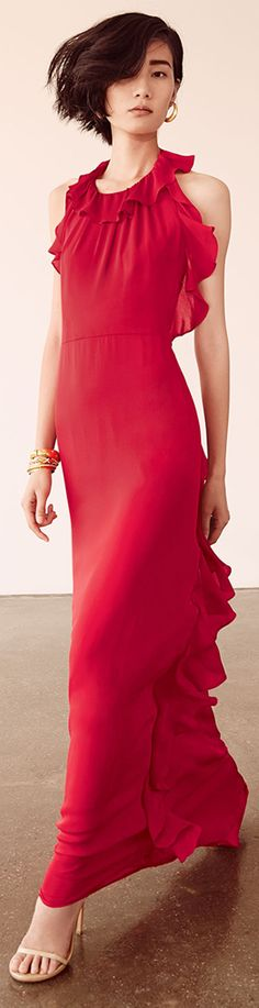 Milly ● Chelsea Ruffled Silk Halter Gown
