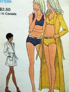 Vintage Vogue 8309 Sewing Pattern, 1970s Bathing Suit Pattern, Bikini Pattern, Bust 34, Two Piece Swimsuit Pattern, 1970s Sewing Pattern by sewbettyanddot on Etsy