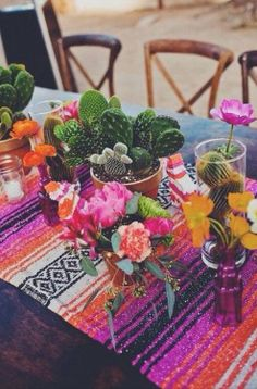 outdoor table setting - cacti & flowers