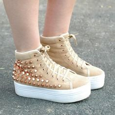 Jeffrey Campbell ZOMG platform sneakers Super cute Jeffrey Campbell 'ZOMG' platform sneakers with rose gold studs. Tan suede. Uppers and insoles are pristine, soles need some whitening. Jeffrey Campbell Shoes Sneakers