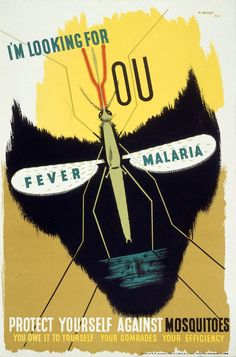 Disease: A Survey of Public Health Posters Credit: Wellcome Library, London. Wellcome Images The malaria mosquito forming the eye-sockCredit: Wellcome Library, London. Wellcome Images The malaria mosquito forming the eye-sock Wellcome Collection London, Abram Games, Safety Posters, Campaign Posters, Medical History, Public Health, Vintage Posters, Vintage Graphic, Science