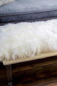 Luxe White Genuine Sheepskin Fur Lucite Bench