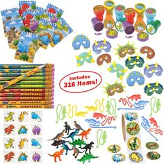 Dinosaur Party Supplies for Boys Girls 316 Piece | Dinosaur Birthday Decorations and Kids Party Favors for 12 Children | Toys, Stickers, Figures, Masks, Tattoos, Stampers | Mr. E=mcý Birthday Supplies -- You can get more details by clicking on the image. (This is an affiliate link)