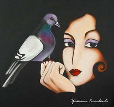 pigeon and the girl Boyama Yasemin Karabenli tarafından Art And Illustration, Art Visage, Guache, Great Works Of Art, Painting Of Girl, Image Originale, Ouvrages D'art, Goth Art, Pigeon