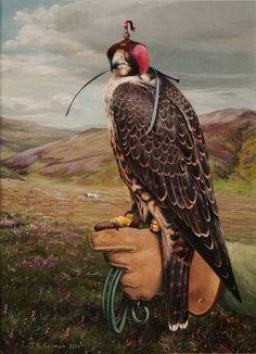 peregrine falcon in scottisch landscape  Gouache miniature 16 x 22 cm