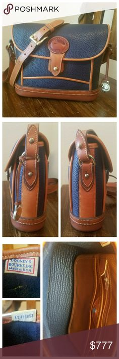 Vintage Dooney & Bourke AWL Dover Case This D&B All-Weather Leather Dover Case, Navy w/British Tan trim is in excellent vintage condition. Very minor wear or patina showing on the trim. The adjustable shoulder strap does have a spot in it (1st pic on the left). Interior is immaculate; 1 zipper pocket, slip pocket w/snap & 1 slip pocket. 1 exterior back pocket w/tab closure. Hanging brass duck fob. Serial #A2489853. From my 🚬🆓🐶🐱🆓🏠. 〰N🚫 TRADES, N🚫 HOLDS, N🚫 LOWBALL OFFERS〰 Dooney…