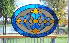 Victorian oval stained glass panel window blue stained by SGHovel, $99.00