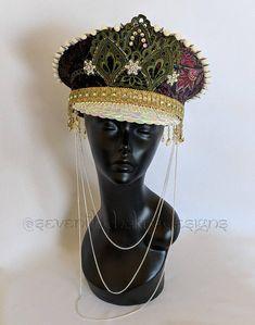 The Brixton velvet Swarovski spiked pompom military captain's hat / burning man festival hat with removable chain