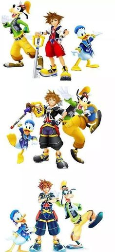 KH ~ omg I knew Sora would be taller then Donald but damn! Haha look at him grow up though!