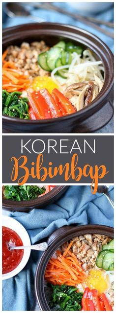 Bibimbap is a classic Korean dish with warm rice, sautéed vegetables, and eggs that are mixed together with a spicy Korean red chili sauce. |www.kimchichick.com