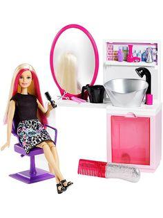 Check out the Barbie® Sparkle Style Salon™ & Doll - Blonde at the official Barbie website. Explore the world of Barbie now! Mattel Barbie, Mattel Shop, Barbie Hair, Doll Hair, Blond, Style Salon, Accessoires Barbie, Barbie Playsets, Barbie Website