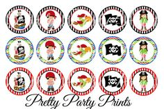 Instant Download Pirate Party 1 inch Round by PrettyPartyPrints, $1.75