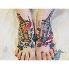Gaslight Lanterns (Right = Ice, Left = Fire) done by Javier Riviera @ Ink and Dagger Tattoo Parlor in Atlanta, GA.