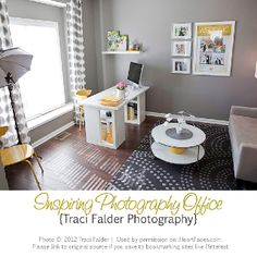 Tips for setting up a Photography Office in your home. {via Design Design Photography Office, Home Studio Photography, Photography Studios, Home Photo Studio, Deco Studio, Decoration, Home Interior Design, New Homes, House Design