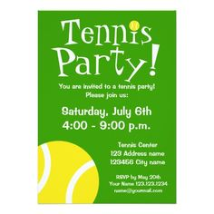 Tennis party invitations for Birthdays or BBQ                                                                                                                                                     More