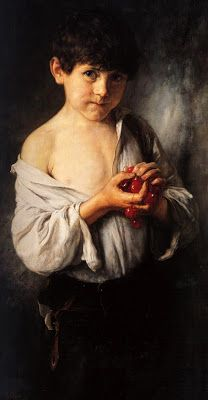 Boy with cherries By Nikolaos Gyzis, Greek painter. Figure Painting, Painting & Drawing, Watercolor Paintings, Greece Painting, Street Art, Ouvrages D'art, Art Database, Contemporary Artists, Art History