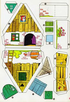 Pin on Blondie's Putz Paper Doll House, Paper Houses, Cardboard Toys, Paper Toys, 3d Paper, Free Paper, Pop Up Cards, Paper Models, Diy Dollhouse