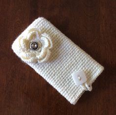 Crocheted I phone 6 plus pouch  white I phone by KnitandLoomstudio