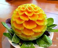 how to carve fruit. Great ideas for planning a luau or beach party!