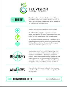 Truvision Directions. How to take. Ingredients listed and benefits.