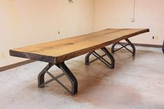 Rouille Live Edge Conference Table by Vintage Industrial Furniture